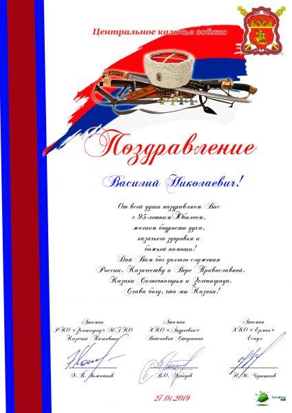 Поздравление 95 лет Василию Николаевичу